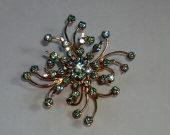 sparkly aqua blue rhinestone brooch