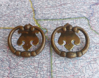 SALE! 2 large open brass metal pull handles with curvy trimplates