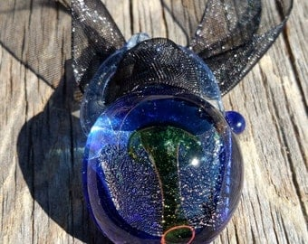 Glass Mushroom Pendant With Yin Yang Loop and Dichroic Background