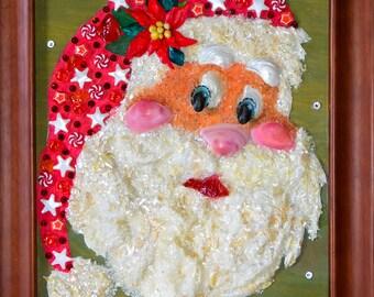 Unique Christmas Holiday Santa Claus sparkling greeting with seashell and Swarovski crystals mosaic art decoration.