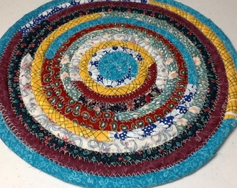Trivet - Hot pad - Coiled Fabric Mat, Trivet, Mug Rug, Centerpiece, Hot Pad - 12 inches Blue, Yellow, Turquoise, Maroon