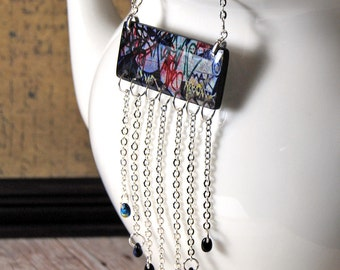 Graffiti and optic illusion reversible chevron fringe necklace, two in one, street art, black and white graphic , gifts for her under 25