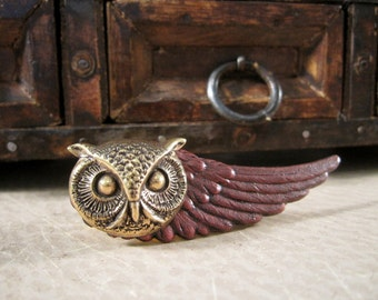 Owl Tie Bar, Animal Tie Clip, Owl Tie Clip, Groom, Wing Tie Clip, Woodland Animal, Maroon, Wedding, ORIGINAL DESIGNER  Days Long Gone