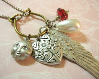 Valentine's Day, Charm Necklace, Silver Heart Necklace, Angel Wing, Silver Moon, Love You To The Moon, Pearl Drop, Ruby Red Dangle