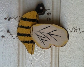 Rustic Wood Bumble Bee Yellow Bug