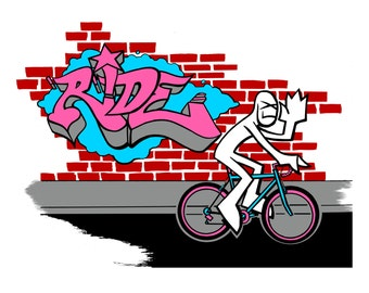 Bicycle Themed Graffiti Style Limited Edition 4 Color Screen Print