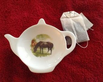 "Ceramic Teabag Holder Black Horse and Brown foal 4.5 """