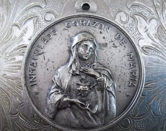 Our Lady Of The Rosary Of Fatima Rosario Blessed Virgin Mary & immaculate Heart Of Mary Corazon Antique Holy Medal