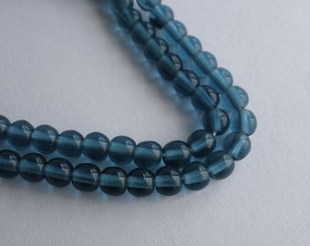 Vintage Czech Glass Beads Round Smooth London Blue 4mm Approx 100 Pieces