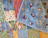Dogs and Ducks Baby Quilt - 37 x 45 - crib quilt - toddler quilt - baby blanket