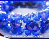 Bracelet and Earring Set Cobalt Blue AB Sparkle Sparkle Size Small All Handmade