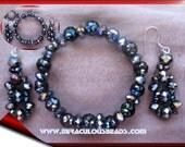 Black Lace Beaded Bracelet and Earring Set