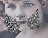 Sterling Silver Ox Plated Ornate Filigree earring Drops 487SOX x2