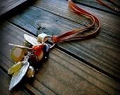 Falling, Western Cowgirl Southwestern Boho Rainbow Jade & Leather Gemstone Cluster Necklace