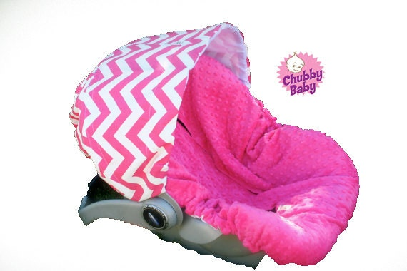 Infant Car Seat Cover, Baby Car Seat Cover in Hot Pink Chevron