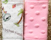 Baby Car Seat Strap Covers, Reversible Car Seat Strap Covers,Bozoolles Collection and pink minky