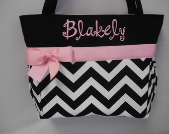 CHEVRON  in BLACK   .. Pink  Accents  ...   Diaper Bag ... Bottle Pockets ... Monogrammed  FReE