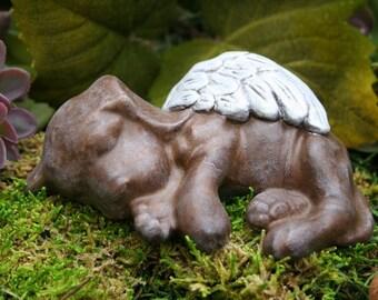 Dog Angel Statue / Chocolate Lab Concrete Statue - Labrador Pet Memorial Marker