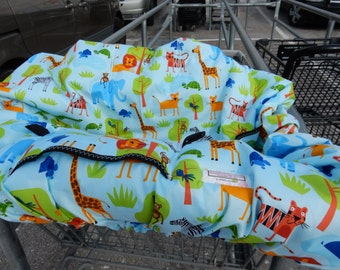 Shopping Cart cover  for boy or girl.....Jungle Party Animals