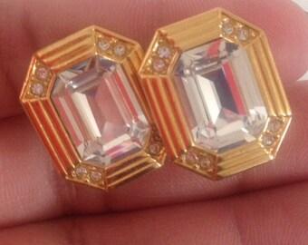 Earrings, Vintage Rectangle Rhinestone Clip On Earrings