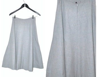 minimal dove grey wool skirt 60s vintage high waisted NEUTRAL midi skirt small 5 6