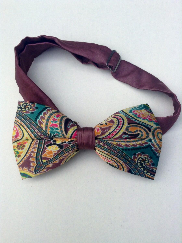 bow ties vintage satin mauve paisley