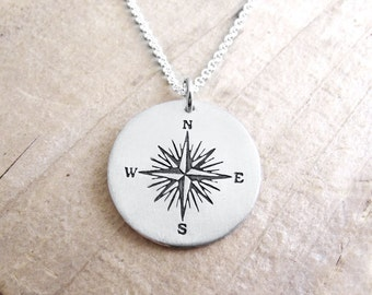 Silver compass rose necklace, compass jewelry, graduation necklace, compass pendant, men's compass necklace, nautical jewelry