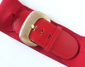 Vintage 1980's Red Elastic Belt with Leather Tongue, Modern Size 8 to 12, M to L