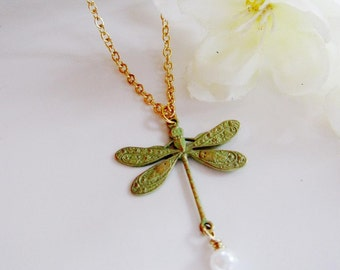 Dragonfly Necklace, Botanical, Insect, Dragonfly Jewelry, Bridesmaid Necklace, Bohemian, Nature Jewelry, Wedding Jewelry