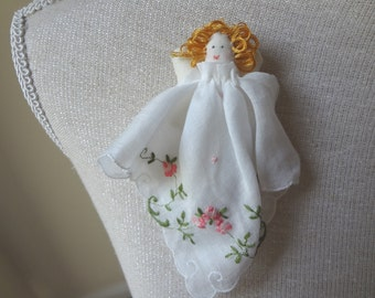 Vintage Handkerchief Angel Handmade Brooch Pin Pink Roses Christmas Gift Stocking Stuffer - EnglishPreserves