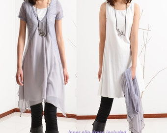 Transparent Meditation - zen layered tunic dress (Q1505)