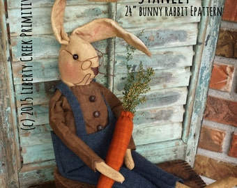 Primitive Easter Bunny Rabbit Doll Stanley Pattern Instant Download