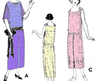Vintage 1920s Ladies Slip On Tunic Camisole Chemise Evening Gown Dress Amazing Pleated Sleeves REPRO Sewing Pattern B34 107