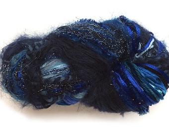 Scraplet Skeins unique multi-textured hand-tied art yarn in Sapphire, September birthstone- 120 yds.