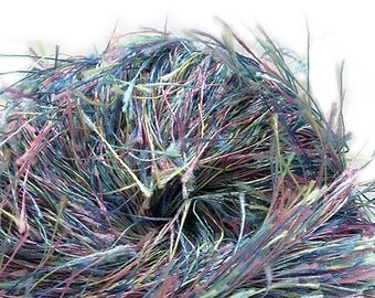 "Park thick, ""furry"" variegated bulky eyelash yarn from FFF, color 29 (blue/pink/yellow/aqua multi)"