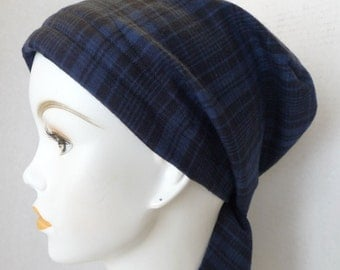 Classic Navy Plaid Chemo Cancer Hairloss 100% Cotton Scarf Turban Hat Headwrap