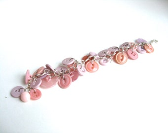 Pink Button Bracelet Silver Chain