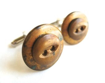 Cuff Links Rustic Gold Metal Vintage Buttons Mens