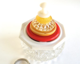 Large Salt Cellar Ring Box with Red and Yellow Vintage Button Lid