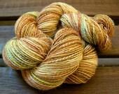 Golden Peaches #2 - Superwash Merino/Silk Hanspun Yarn, 230 Yards
