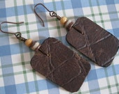 Leather Small Rectangle  Disk Earrings With Croc Print  - Brown  With African bead and Bamboo Bead at the top. Antique Copper earwires