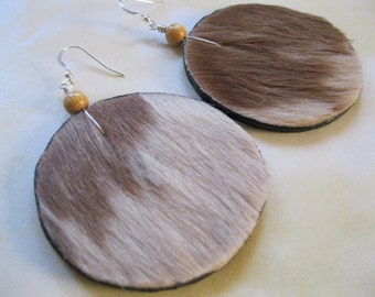 Hair on Leather Disk Earrings -Tan and Off White with Beige accents. Sterling Silver earwires