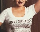 Womens Animal Electricity Frankenstein TShirt Steampunk Goth Horror