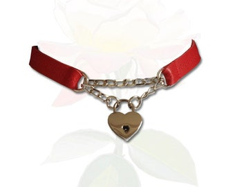 Bound to my Heart Discreet Lock BDSM Collar Submissive BDSM Daytime Slave Collar BDSM Jewelry Lipstick Red