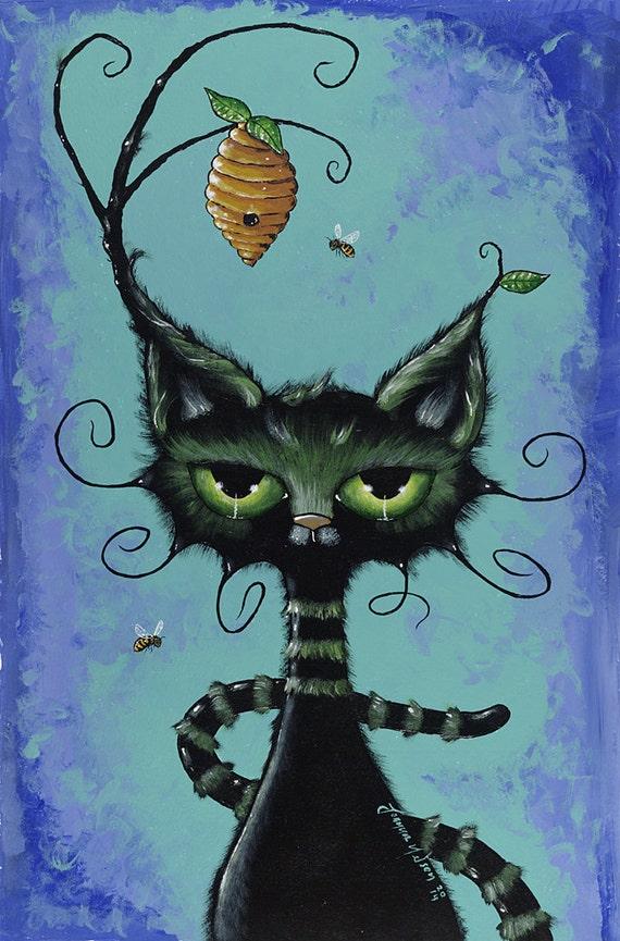 Black Cat Honey Print Joanna Nelson Magic By
