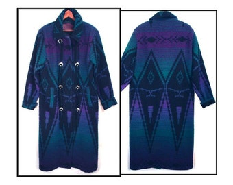 80's vintage southwest coat // long wool blanket coat // WOOLRICH duster // women's size L