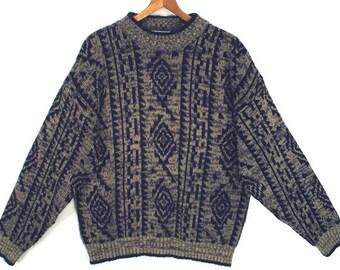 80's SOUTHWEST neutral tan and gray vintage men's retro sweater size L