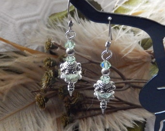 SALE......One of a Kind Sterling Silver, Swarovski Crystal and Gemstone Earrings