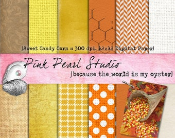 Sweet Candy Corn Halloween Fall Digital Paper Pack 12x12 Scrapbooking, Crafts and Cardmaking