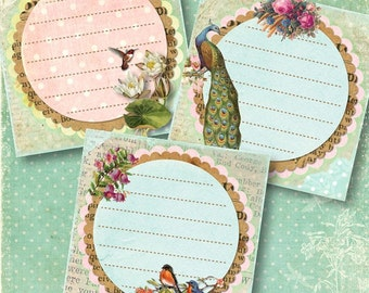 Set of 6 Bird Peacock Floral Sticker Labels or Notes, Digital Collage Sheet for Journaling, Crafts of Scrapbooking